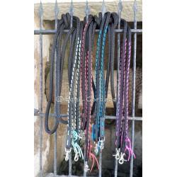 Rênes en corde 14mm noir décorées